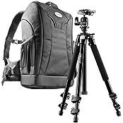 Mantona Scout Trekking 2 in 1 Set (inkl. Fotorucksack Trekking und Kamerastativ Scout 142 cm, geeignet für DSLR- und Systemkameras)