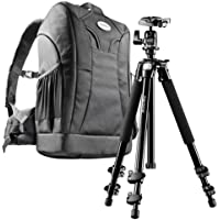 Mantona Scout Trekking - Conjunto 2 en 1 con mochila y trípode para cámaras réflex, color negro