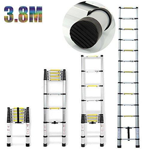 Neues Design Teleskopleiter, 3,8m, Mehrzweck, faltbar Leiter Verlängerung ausziehbar Leiter 13Schritt für Office Home Loft–UK Lager
