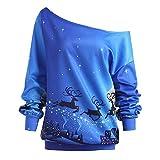 VEMOW Elegante Damen Oberteile Weihnachten Langarm trägerlos Slash Neck Sweatshirt Bedruckt Pullover Tops Bluse Hemd(X1-Blau, EU-44/CN-2XL)