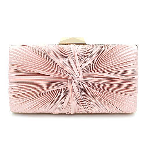 JMFHCD Damen Abendtasche Umhängetasche Plissee Polyester Elegante Mädchen Tasche Clutch Bag Handtasche Hochzeit Für Partys Abendessen Rosa -