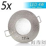5er Set AQUA IP44 230V LED SMD 4W (300lm) Kaltweiß Decken Einbaustrahler Einbauspots Deckenspots f. Badezimmer Feuchtraum Außenbereich (Matt-Chrom) inkl. GU10 Fassung mit 15cm Anschlusskabel [Einbautiefe: 10cm]