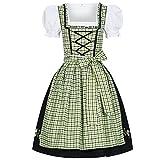 Bongossi-Trade Dirndl 3 TLG.Trachtenkleid Kleid, Bluse, Schürze, Gr. 34-46 schwarz grün kariert 42