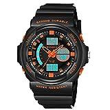 AmyGline Multifunktions 50M Wasserdichte Uhr LED Digital Double Action Uhr, LCD Digital Stoppuhr Datum Gummi Handgelenk