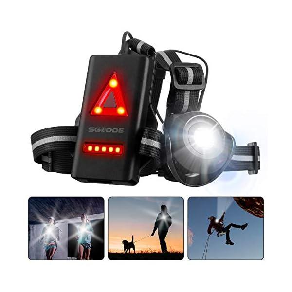 Running Light Ricaricabile USB, SGODDE Luce Corsa 2 Modi 500 LM Impermeabile Sport All' Aria Aperta, Leggero, Comodo e… 1 spesavip