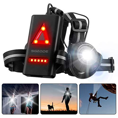 SGODDE Wiederaufladbare USB Running Light,Brust Lampe Lauflicht wasserdicht Outdoor Sport,120° Einstellbarer Abstrahlwinkel,500 Lumen, 360° reflektierendes Band,Leicht, Bequem und Perfekt Brustlampe