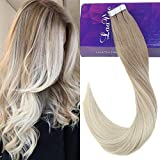 LaaVoo 14zoll/35cm Glue in Extension Echthaar Tape Aschblond Balayage Platinblond Highlight Brazilian Tape in Extensions Naturlich 50GR/20PCS