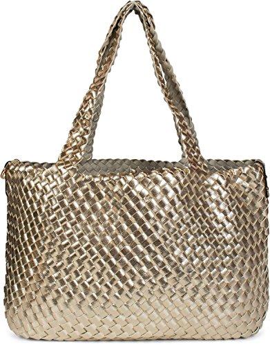 styleBREAKER borsa reversibile XXL con look intrecciato, shopper, Set di borse , 2 borse, borsa nella borsa, borsa a tracolla, donna 02012163, colore:Marrone scuro / Antico-Bronzo Gold / Hellgrau