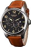 PARNIS 2151Deportivo de Hombre automático Reloj 44mm Marca Mecanismo Miyota de Cristal de Zafiro Caja de Acero Inoxidable Pulsera de Piel de Ternero 5Bar Resistente al Agua