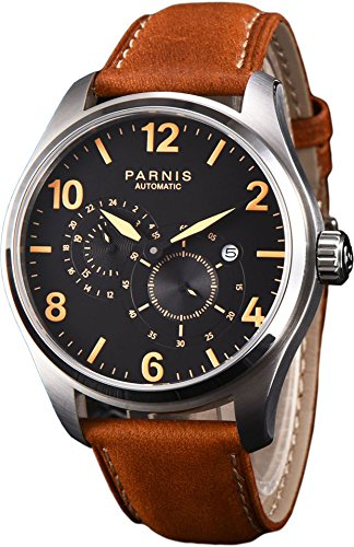 PARNIS 2151 Klassische Automatik-Herrenuhr mit kratzfesten Saphirglas und 44mm Edelstahl Gehäuse Flache Bauweise von nur 12mm MIYOTA Uhrwerk 5BAR