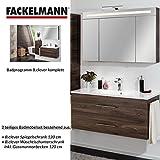 Fackelmann Badmöbel Set B.Clever 2-tlg. 120 cm braun mit Waschtisch Unterschrank inkl. Gussmarmorbecken & LED Spiegelschrank