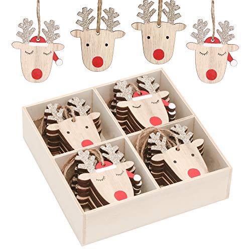 Valery Madelyn Holz Weihnachtsdeko Anhänger 24tlg 6cm Baum Weihnachtsdeko mit 2 Motiven Hirschkopf Rentier Kopf Weihnachtssnhänger Baumschmuck zum Hängen Wald Thema Braun Rot Gold MEHRWEG Verpackung