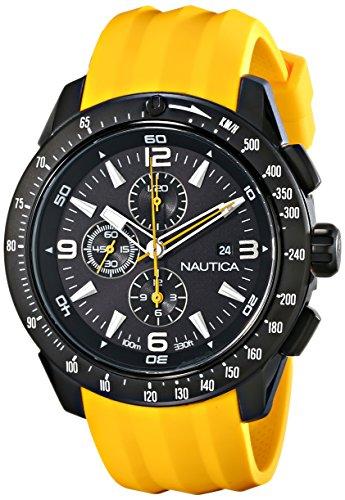 Nautica N18599G Herren Armbanduhr, Armband aus Harz - Gelb Nautica Watch