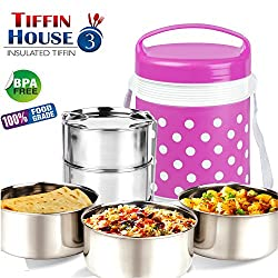 BMS LifeStyle Royal Hot Meal 3-Container Stainless Steel Insulated Lunch Carrier/Box/Tiffin ,Pink
