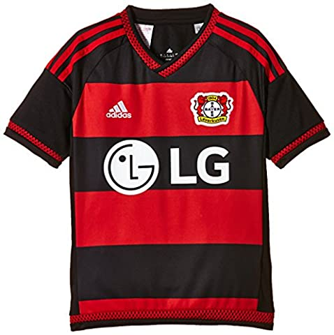 adidas Bayer 04 Leverkusen 2015 Domicile Replica Maillot manches courtes Garçon Black/Scarlet/White FR : 10 ans (Taille Fabricant : 140)