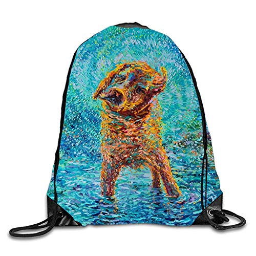 Backpack Wet Golden Retriever Goodie Bags,Promotional Gym Sack for Birthday Party ()