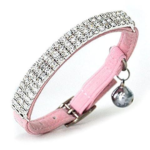 SZTARA Adjustable Cat Bells Collar Bling Diamante Velvet Neck Strap for Dog Kitty Puppy
