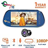 myTVS TRV-39M 7 inches Car Rear View Full HD Screen with MP3/MP5/USB Player/Bluetooth & Mirror Link + 8 Led Parking Camera