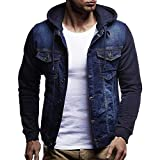 MEIbax Herren Vintage Distressed Denim Jacke mit Kapuze Sweatjacke Tops Mantel Outwear Coats