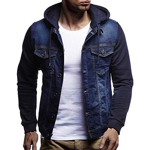 QinMM Chaqueta de Mezclilla con Capucha para Hombre, Abrigo otoño Invierno Jacket Jeans, Azul, XL
