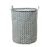Rcool Waterproof Canvas Laundry Clothes Storage Basket Foldable Storage Organizer Holder Box Pouch Barrel (C)