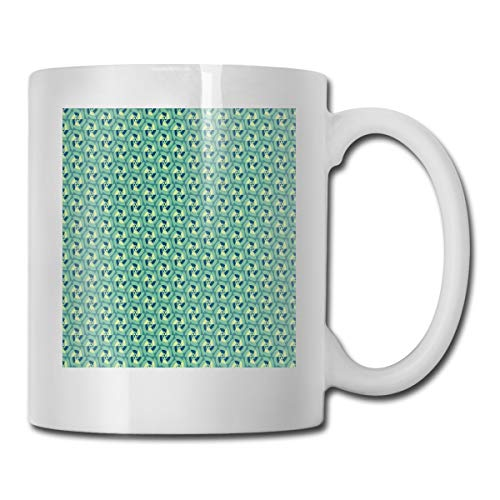 Jolly2T Funny Ceramic Novelty Coffee Mug 11oz,Retro Revival with Optical Illusion Elements Circles Repeating Motifs,Unisex Who Tea Mugs Coffee Cups,Suitable for Office and Home Illusion Iced