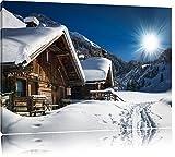Verschneite Alpenhütte Format: 120x80 auf Leinwand, XXL riesige Bilder fertig gerahmt mit Keilrahmen, Kunstdruck auf Wandbild mit Rahmen, günstiger als Gemälde oder Ölbild, kein Poster oder Plakat