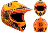 "Armor · AKC-49 ""Limited Orange"" (orange) · Casco Moto-Cross · Enduro Scooter NINOS Off-Road Quad Racing motocicleta · DOT certificado · Click-n-Secure™ Clip · Bolsa de transporte · S (53-54cm)"
