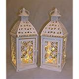 Enlace productos marroquí farol de color crema Metal y cristal 25cm de alto, juego de 2con luces LED