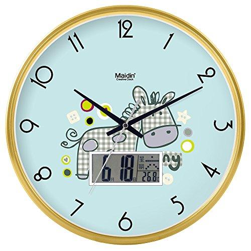 Mmynl.c non vola silenzioso matt moderno orologio a parete fai da te per soggiorno camere cucine ufficio 14 pollici gold
