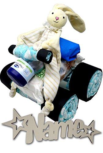 Babygeschenke personalisiert Windeltorte mit Namen + Creme + Feuchttücher Set I Nachtlicht für Mädchen Junge I Windelgeschenke zur Geburt & Taufe