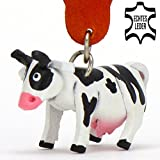 Monkimau Kuh Milka Leder Schlüssel-anhänger Deko-Figur ed Charm-s Kinder Mädchen Milch-Bauern Geschenk-e schwarz weiß 5cm klein