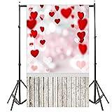 Rovinci Día de San Valentín Amor Corazón Fotografía Telón de Fondo Vinilo Foto Fondo Prop Regalo Fotografía Manta Estudio fotográfico Prop 150 * 90 cm