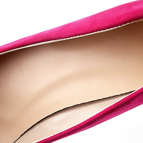 VogueZone009 Femme à Talon Correct Dépolissement Tire Pointu Chaussures Légeres Cramoisi