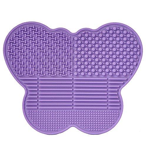 # 1 Die beste Silikon-Make-Up-Reinigungsmatte - Schmetterlingsform - verlängern Sie die Nutzung Ihres Make-ups und Ihrer Künstlerpinsel! (Lila)