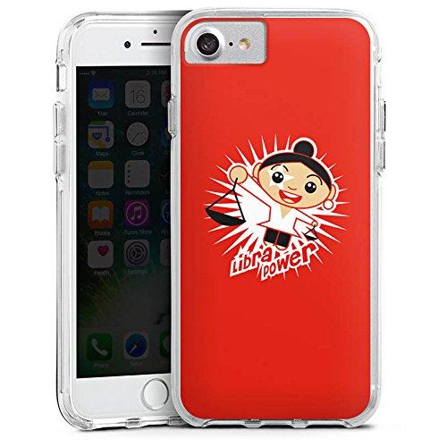 Apple iPhone 8 Bumper Hülle Bumper Case Glitzer Hülle Waage Balance Sternzeichen Bumper Case transparent