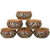 Xclusive Outlet Microwave Safe Soup Bowls Set Made Up Of Ceramic, Brown In Colour Package Include 6 Bowls , 6 Spoons,Set Of 6,Brown Flower Pattern ) |100% Food And Microwave Safe|Use To Serve Soup,Cereal,Pasta, Maggi,Noodle |Ideal Gift For Family Friends