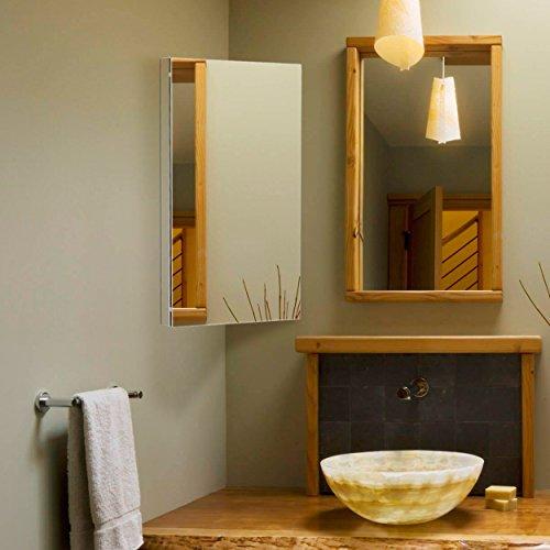 Harima-Badezimmer Spiegelschrank Eck Schrank mit Spiegel und 3Einlegeböden, Wand montiert, Rahmen aus Edelstahl - 7