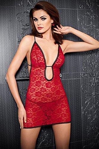 Tessoro 141 Maracuya Set Elégante Et Sexy Chemise De Dentelle + String - Fabriqué En UE rouge-noir