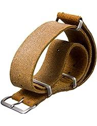 Bracelet de montre ZULUDIVER cuir véritable NATO Marron clair 22mm