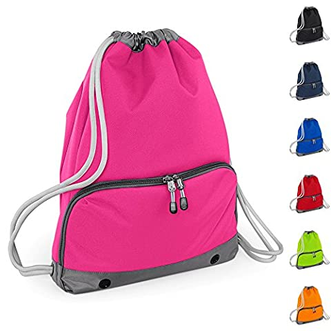 Good Quality Gym Bag by Joggaboms - Swim Bag for Adults and Kids - Drawstring Backpack - Waterproof - Strong stitching and thick cords - Handy zipped wet pocket and shoe compartment (Pink, Adults /