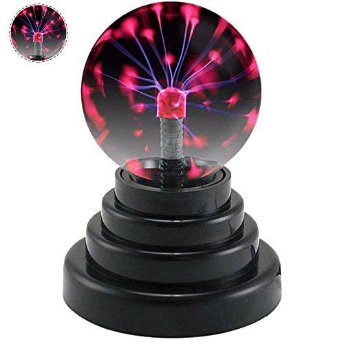 Plasmakugel Magische Blitze Plasmaball Lon Magic Ball Magischer Blitzball Globus Lampe Licht Berührungsempfindliche Magie Kristall Kugel Lampe Elektrostatische Blinkende mit USB-Ladekabel(3,0 Zoll)