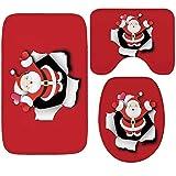 Gnzoe Flanell Teppich/Toilettenmatte-Set Weihnachten Grandpa 3PCS Muster Design Teppiche für Flur Schlafzimmer Rot 60x40CM