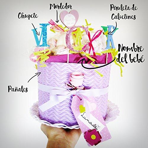 Windeln Kuchen Dodot   Modell IRIS   Personalisierte mit dem Namen des Baby-   Es umfasst: Pacifier Suavinex, Zahnen Canpol babies Lutscher Socken aus Baumwolle Marke   Windeltorte   Baby-Dusche-Geschenk-Idee   Tone Rosa / Lila, für Sissies