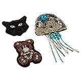 Hellery 3 Pedazos Parche de Costura Patrón de Medusa/Oso/Gato con Abalorios Rhinestone Adorno para Sonbrero, Bufanda, Bolso, Diadema
