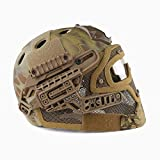 WLXW Airsoft E Paintball Shooting Tactical Quick Shield + ABS Tactical Mask con Occhiali, Elmetto Protettivo PJ Fast Molle, CS War Shooting War Game,MA