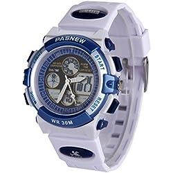 Mixewatch LED Digital-analog Boys Girls Sport 30M Waterproof Sport Digital Watch Dual Time Display - White