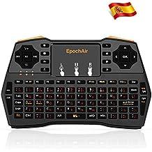 EpochAir Mini Teclado Multimedia Inalámbrico 2.4GHz RF con Touchpad para Smart TV, Android TV Box, PlayStation, XBox, Proyector, PC y Más - Teclado en Español (tiene Ñ)