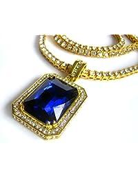 Rick Ross laboratorio Hiphop bling zafiro chapado en oro colgante y cadena de diamantes de imitación