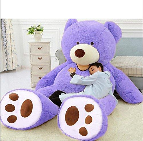 VERCART Groß Teddybär Spielzeug Kuscheltier Gigantischer Puppe Weiches Plüsch als Geschenk Geburtstagsgeschenk zur Dekoration Erwachsene Kinder Lila 160CM